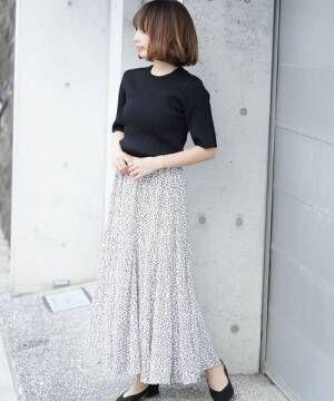 [INTER FACTORY] INTER FACTORY フラワープリントフレアスカート