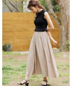 [INGNI] 麻ギャザーロング/スカート