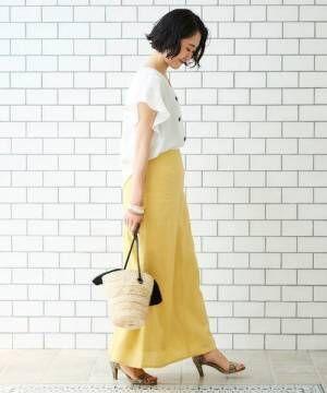 [le.coeur blanc] フレンチリネンセミフレアーロングスカート