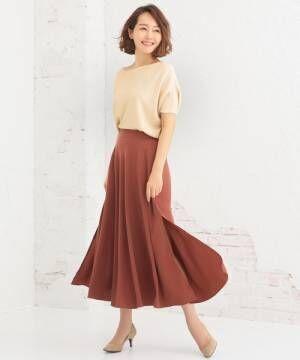 [Nina] サイドスリットミモレ丈フレアスカート