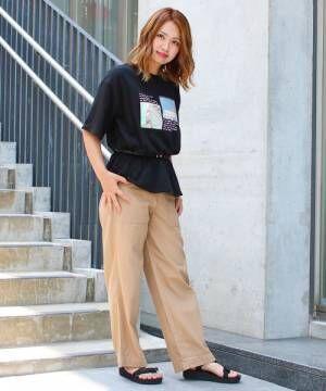 [Social GIRL] オーバーサイズホログラムビッグシルエットフォトロゴTシャツ