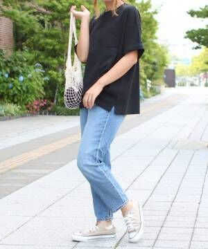 [Social GIRL] エンブロイダリーsmileバック刺繍ロゴオーバーサイズビッグシルエットルーズTシャツ2