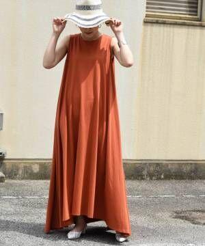 [Eimee Law & WASH] フレアノースリAラインイレヘムロングワンピース
