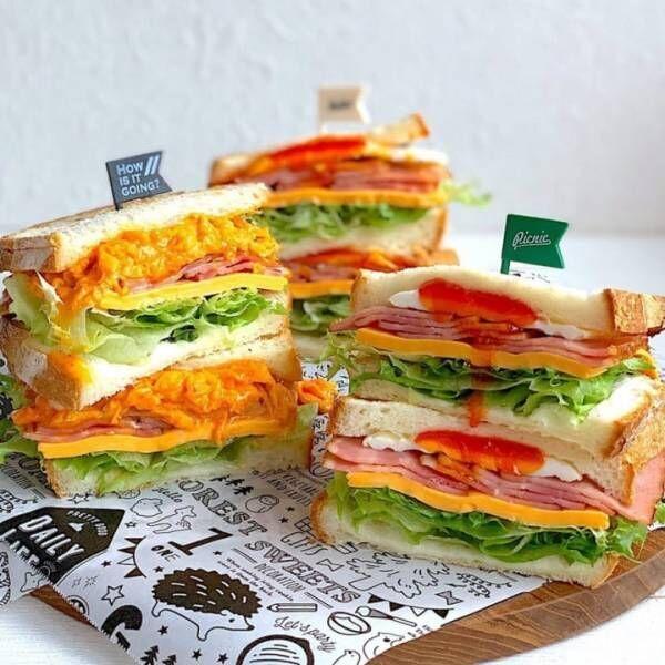 具だくさんのカラフルサンドイッチ
