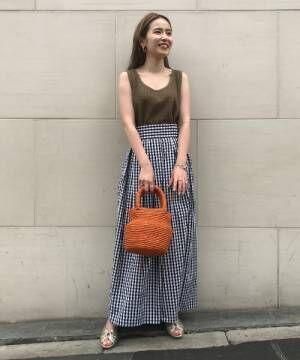 [BEAMS WOMEN] Demi-Luxe BEAMS / ギンガムチェック ロングスカート