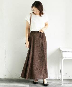 [URBAN RESEARCH ROSSO WOMEN] レオパードラップ風ロングスカート