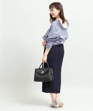 [ViS] 【WEB限定】ケーブルニットロングスカート