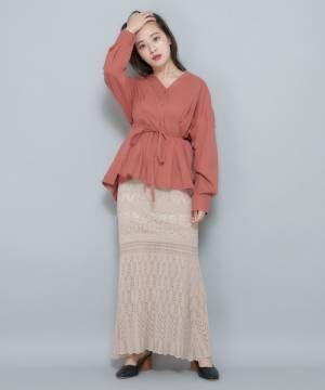 [CIAOPANIC] かぎ針編み風サマーニットマーメイドスカート/セットアップ