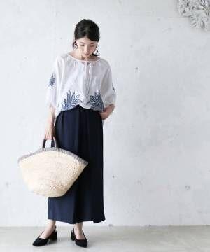 [FRENCH PAVE] 気品あるリーフ刺繍のブラウスボリューム袖紐リボン半袖トップス