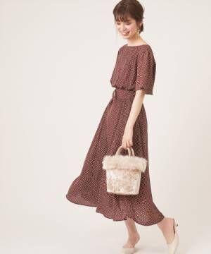 [natural couture] フレア袖太ベルトワンピース