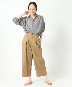 [studio CLIP] 【WEB限定プラスサイズ】ギンガムチェック2WAYシャツ