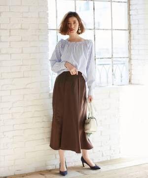 [tocco closet] サテン切替ヘムフレアスカート