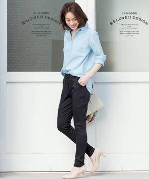 8[Pierrot] 無地orストライプ柄 コットン100%ルーズシャツ