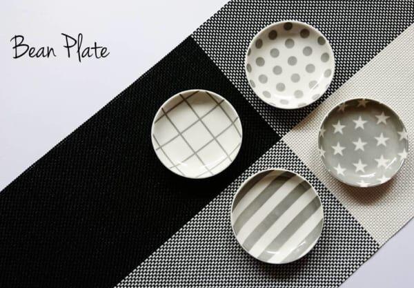 ホワイト&グレーの豆皿