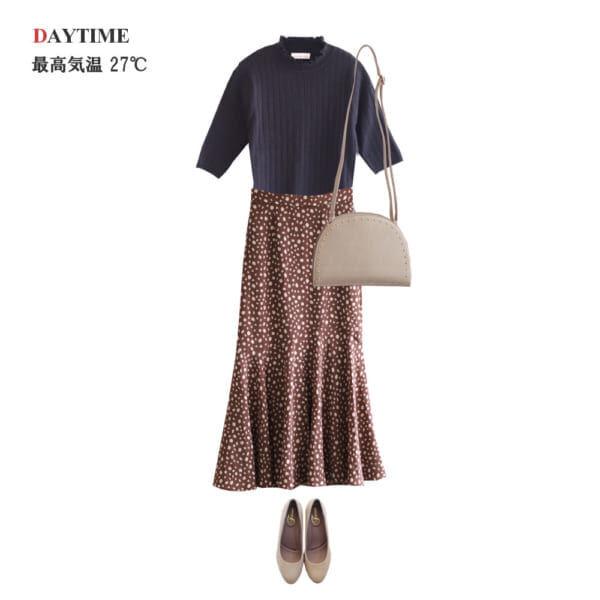 <昼>ダルメシアン柄スカートで秋のトレンドコーデ