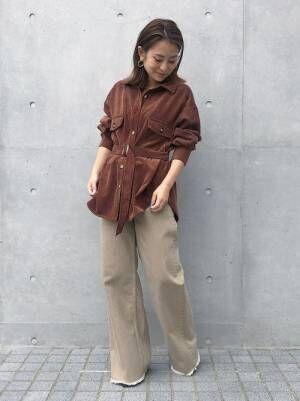 [STUDIOUS WOMENS] 【STUDIOUS】ベルト付きコーデュロイビックシャツ