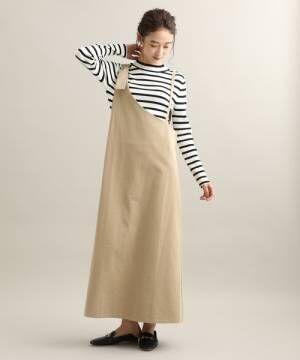 [ViS] 【WEB限定】ワンショルダー風ジャンパースカート