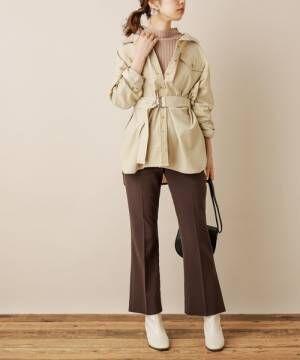 [natural couture] 共ベルト付きコーデュロイシャツ