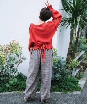 [haco!] 【高橋愛さんコラボ】バックリボンのクロップドニットプルオーバー by LOVE&PEACE PROJECT