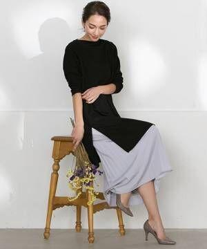 [LAUTREAMONT ONLINE SHOP] 【WEB別注】セット企画スリットワンピースとプリーツスカートのレイヤードスタイル
