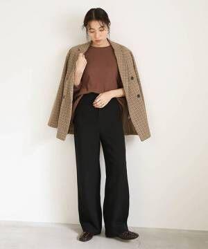 [select MOCA] ハイウエストワイドパンツ/美形シルエット両ポケット付ワイドパンツ