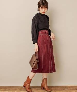 [natural couture] 配色ステッチベルト付チノスカート