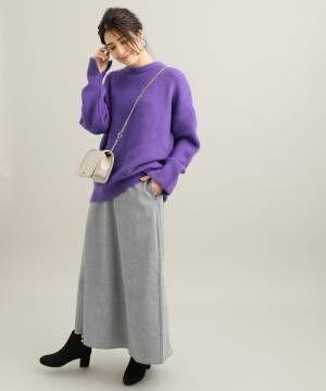 [ViS] 【WEB限定】チェック柄セミフレアスカート