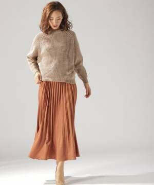[BAYFLOW] サテンプリーツロングスカート