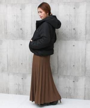 [Social GIRL] フード付き中綿ダウンジャケット