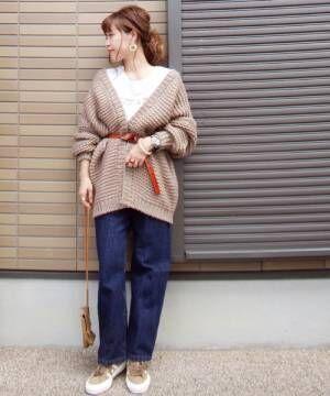 [AZUL ENCANTO] 【洗濯機で洗える】手編みボリュームコーディガン