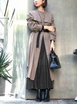 [nano・universe] 【WEB限定】Fスエードプリーツスカート