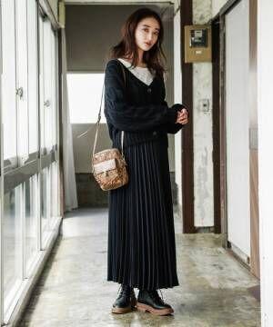 [niko and...] 変形プリーツロングスカート