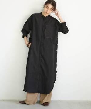 [select MOCA] スリムコールスタンドカラーシャツワンピース/細コーデュロイサイドボタンスリットデザインポケットロングワンピ