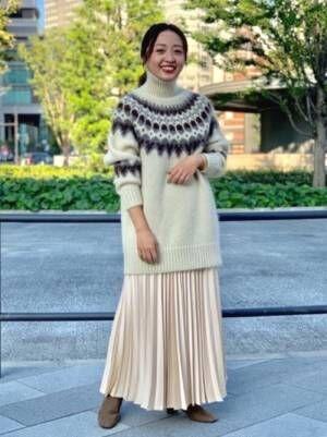 [BEAMS WOMEN] Demi-Luxe BEAMS / サテン プリーツスカート