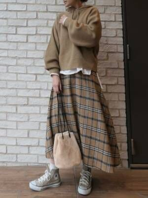 [CORNERS] チェックシャギーフレアースカート