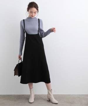 [ViS] バックファスナーサロペットスカート