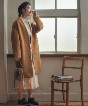 [mysty woman] シームカラーVネックコート 840976
