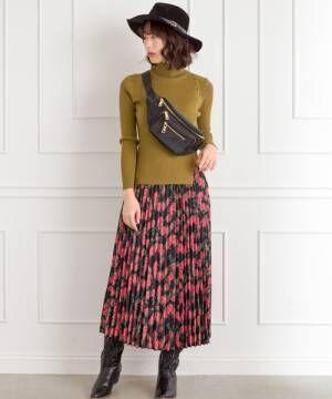 [Libby&Rose] レトロ花柄プリーツスカート