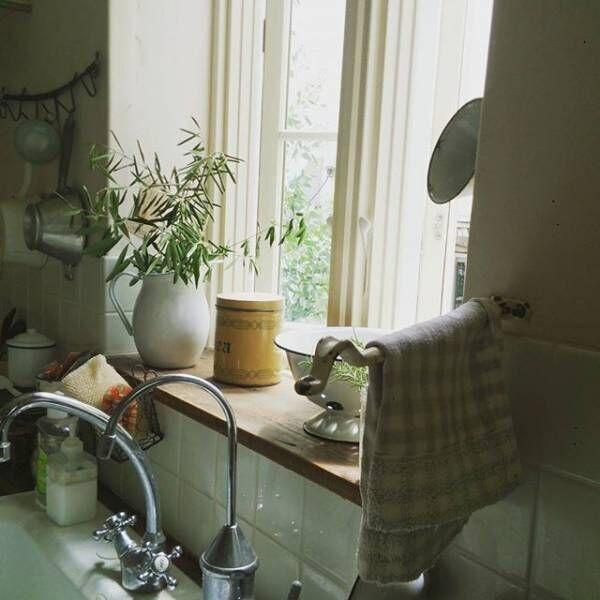 キッチンの窓辺は植物を飾って
