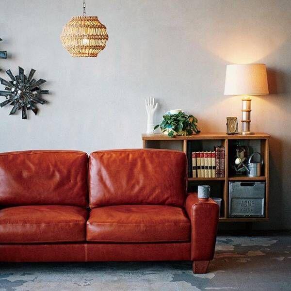 レザーのソファーは海外インテリアのように