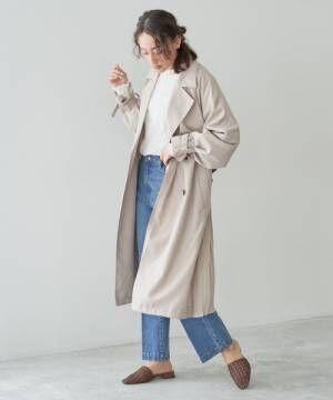 [Discoat] 後ろプリーツトレンチコート/スプリングコート/ロングコート/袖ボリューム