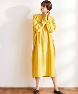 春まで着られる黄色ワンピースコーデ