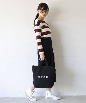 [coen] 【WEB限定カラー:シルバー】coen2WAYロゴトートバッグ