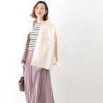 30代女性に嬉しい♪華奢映えプリーツロングスカートのお手本コーデ