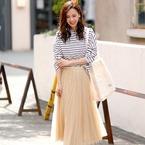 甘すぎないのに可愛い♡ベージュ&グレーのチュールスカート春スタイル