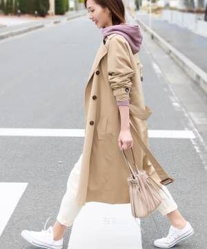 [Social GIRL] ピーチロングとろみケープトレンチスプリングコート