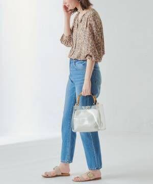 [natural couture] お上品ちょい開襟バー釦ブラウス