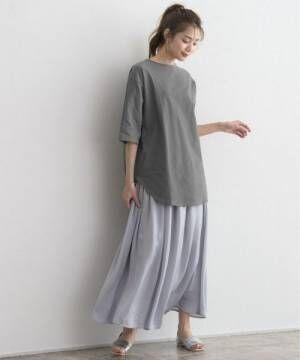 [Pierrot] サイドスリットチュニックTシャツ