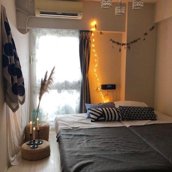 天然素材の小物がおしゃれな寝室