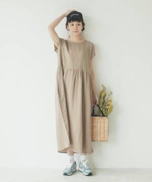[pairmanon] 【ママサイズ】ダブルガーゼフレンチスリーブワンピ